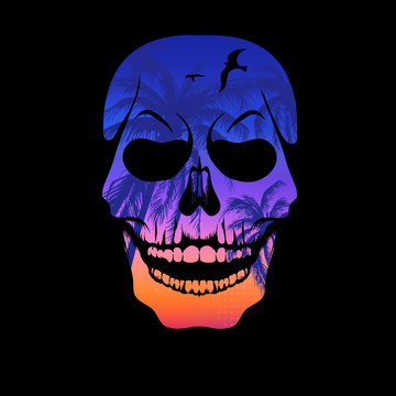 Colorful skull silhouette with palm trees pattern. T-shirt print, design for youth, teenagers.