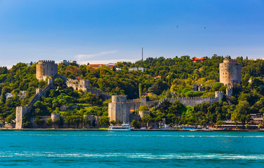 Panorama of the city of Istanbul from the Golden Horn bay on the slopes of the city.