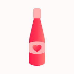 Bottle of champagne. The symbol of the holiday of St. Valentine's Day. A heart. Vector illustration .EPS 10