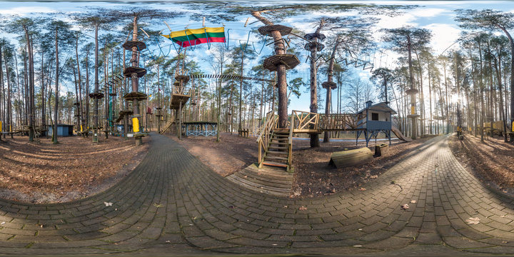 full spherical hdri panorama 360 degrees angle view in jungle park in the children\'s entertainment center in pinery forest in equirectangular projection. VR content