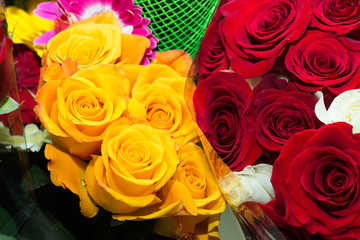 Beautiful bouquets of roses, red and yellow flowers