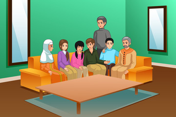 Family at Home Illustration