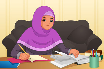Muslim Girl Doing Homework at Home Illustration
