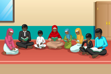 Muslim African Family Studying Quran Together