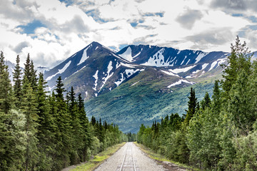 Railroad to Denali National Park, Alaska with impressive mountains