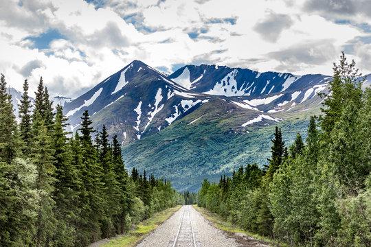 Railroad to Denali National Park, Alaska with impressive mountains