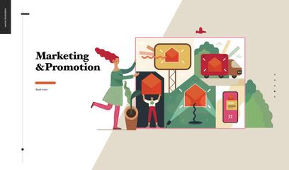 Technology 2 -Marketing and Promotion modern flat vector concept digital illustration marketing metaphor, company brand promotion. Business workflow management Creative landing web page design