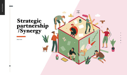 Technology 2 -Strategic Partership - Synergy flat vector concept digital illustration partnership and synergy metaphor. Business workflow and team management Creative landing web page design template