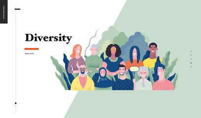 Technology 1 - Diversity - modern flat vector concept digital illustration of various people presenting person team diversity in the company. Creative landing web page design template