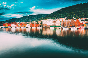 Bergen, Norway. View Of Historical Buildings Houses In Bryggen - Hanseatic Wharf In Bergen, Norway. UNESCO.