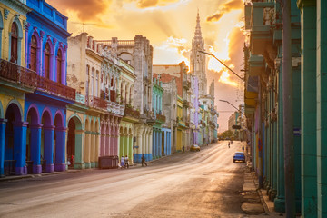 Printed roller blinds Havana Street scene with sunset in downtown Havana