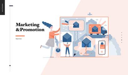 Technology 3 -Marketing and Promotion modern flat vector concept digital illustration marketing metaphor, company brand promotion. Business workflow management Creative landing web page design