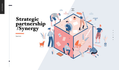 Technology 3 -Strategic Partership - Synergy flat vector concept digital illustration partnership and synergy metaphor. Business workflow and team management Creative landing web page design template