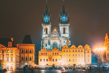 Prague, Czech Republic. Church Of Our Lady Before Tyn In Old Town Square At Night Street Illumination Lights