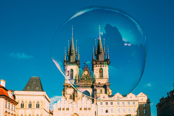 Soap bubble on the background of Church Of Our Lady Before Tyn In Old Town Square in Prague, Czech Republic.
