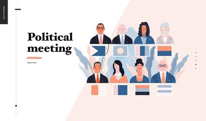 Technology 3 - Political meeting - flat vector concept digital illustration political meeting metaphor. Creative landing web page design template