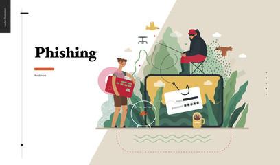 Technology 2 - Phishing - flat vector concept digital illustration of phishing scam metaphor. Hacker fraud protection, password steal, data phishing. Creative landing web page design template