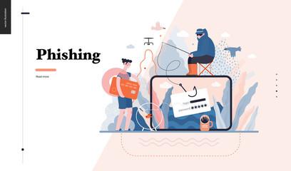 Technology 3 - Phishing - flat vector concept digital illustration of phishing scam metaphor. Hacker fraud protection, password steal, data phishing. Creative landing web page design template