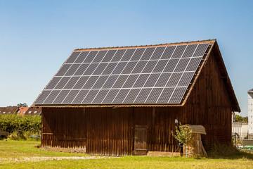 Solar panel on a farm house roof