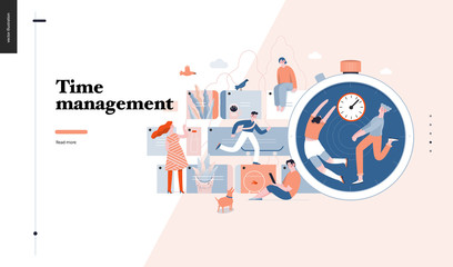 Technology 3 -Time management - modern flat vector concept digital illustration of time management metaphor, a stopwatch, timeline and people in workflow. Creative landing web page design template