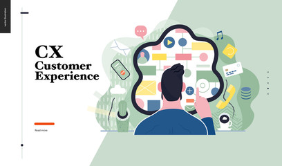 Technology 1 -CX customer experience - modern flat vector concept digital illustration of user or customer experience, a user in front of interface. Creative landing web page design template