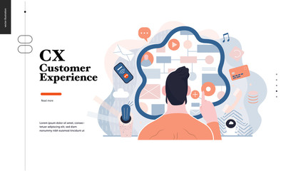 Technology 3 -CX customer experience - modern flat vector concept digital illustration of user or customer experience, a user in front of interface. Creative landing web page design template