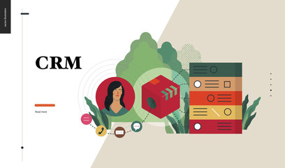 Technology 2 - CRM Customer Relationship Management - modern flat vector concept digital illustration of data collecting from user and providing result data. Creative landing web page design template