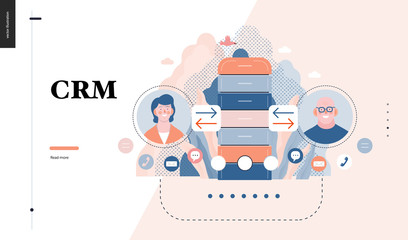 Technology 3 - CRM Customer Relationship Management - modern flat vector concept digital illustration of data collecting from user and providing result data. Creative landing web page design template