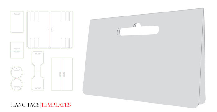 Hang Tag Template, Vector with die cut / laser cut lines. Set with different template designs. Price Tag. White, clear, blank, isolated Hang Tag mock up on white background. Packaging Design