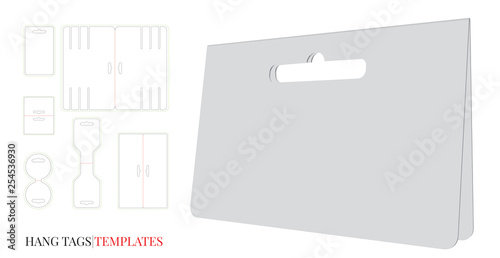 Hang Tag Template Vector With Cut Laser Lines Set Diffe