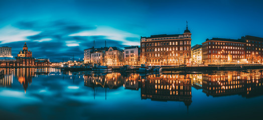 Helsinki, Finland. Panoramic View Of Kanavaranta Street With Uspenski Cathedral And Pohjoisranta Street In Evening Night Illuminations Wall mural