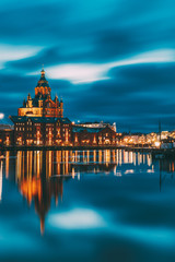 Helsinki, Finland. View Of Kanavaranta Street With Uspenski Cathedral In Evening Night Illuminations