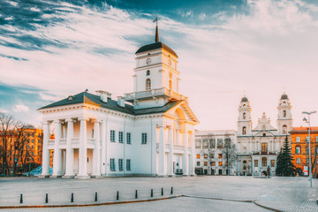 Minsk, Belarus. Old Minsk City Hall on Freedom Square Hall In Sunny Spring Evening Day. Town Hall
