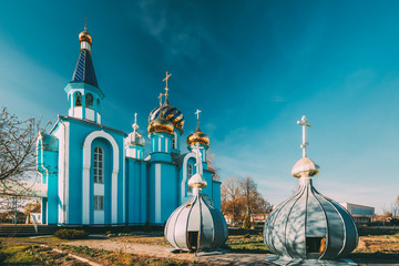 Village Krasnoe, Gomel Region, Belarus. Old Orthodox Church Of The Assumption At Sunny Spring Day. Famous Landmark