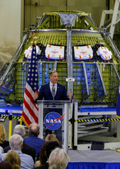 NASA Administrator Jim Bridenstine speaks about the upcoming year's budget during an address to the workers at NASA's Kennedy Space Center in Cape Canaveral
