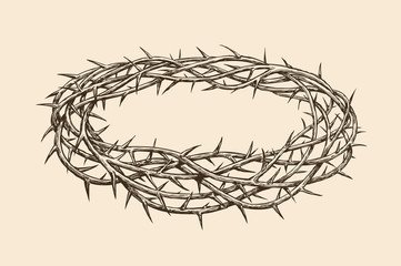Crown of thorns, sketch. Hand drawn vintage vector illustration