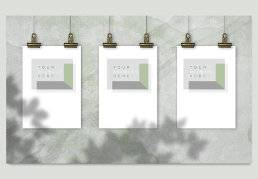 3 Hanging Posters with Binder Clips Mockup