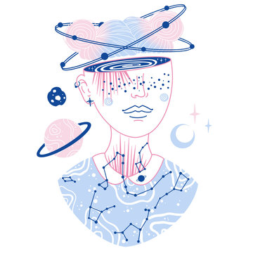 Space Galaxy Girl with Planets