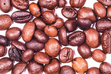 the image of a coffee beans under the white background