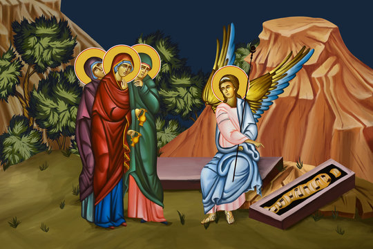 Myrrhbearing Women at the Tomb of Christ. Illustration - fresco in Byzantine style