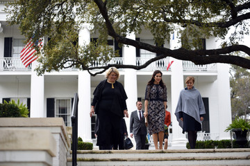 Danish Crown Princess Mary and Danish Minister of Culture Mette Bock exit the Governors Mansion in Austin