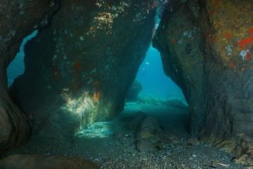 Passage between rocks underwater in the Mediterranean sea, natural scene, France