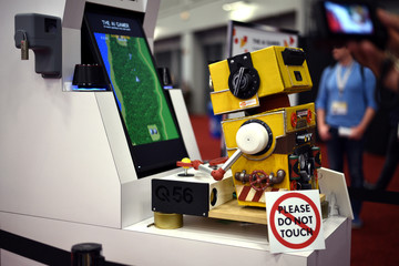 Bandi Namco Studios Gamer AI is on display at the Austin Convention Center at the South by Southwest (SXSW) conference and festivals in Austin, Texas
