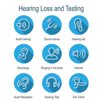Hearing Aid or loss w Sound Wave Images Set