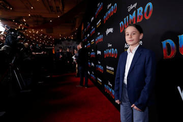 "Cast member Finley Hobbins poses at the premiere for the movie ""Dumbo"" in Los Angeles"