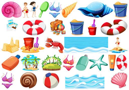 Set of beach objects