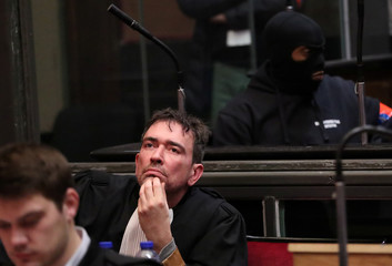 Sebastien Courtoy, lawyer of Mehdi Nemmouche is seen during the trial of Mehdi Nemmouche and Nacer Bendrer in Brussels