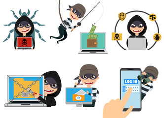 Cyber security hacker vector character set. Thief hacking computer stealing online password and login information. Vector illustration.