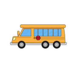 Isolated school bus cartoon. Vector illustration design