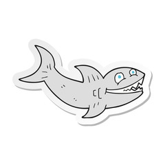 sticker of a cartoon shark